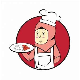 Moslimchef-kok met schotel