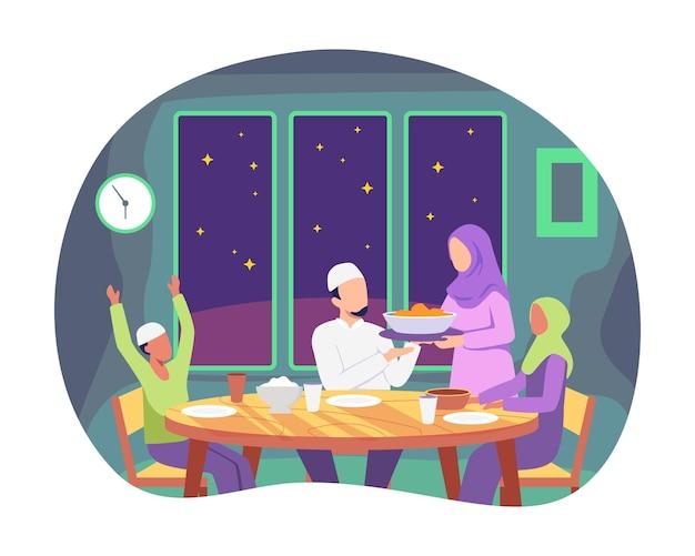 Moslimfamilie die iftarmaaltijd voorbereidt. samen in geluk genieten van ramadan tijdens het vasten