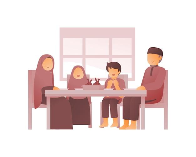 Moslimfamilie die samen eet in de eetkamer