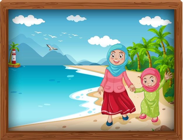 Moslimfamilie die vakantie neemt
