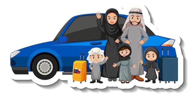 Moslimfamilie die voor een auto staat