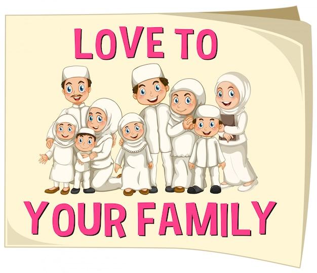 Moslimfamilie die witte kleren draagt