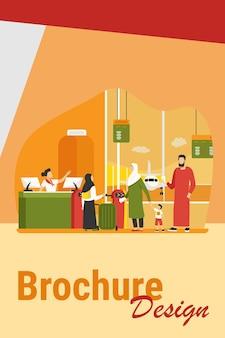 Moslimfamilie die zich bij de incheckbalie op de luchthaven bevindt. echtpaar met kinderen wachten instappen platte vectorillustratie. internationaal toerismeconcept voor banner, websiteontwerp of bestemmingswebpagina