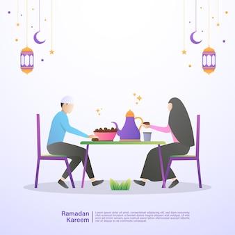 Moslimfamilie eet samen iftar van ramadan. illustratie concept van ramadan kareem