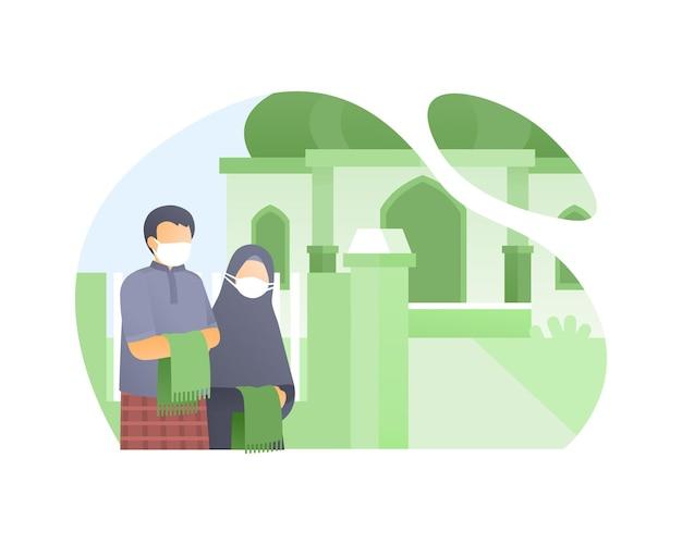 Moslimfamilie gaat naar de moskee en draagt een gezichtsmasker