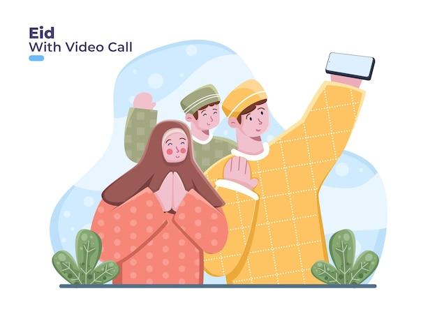 Moslimfamilie gebruikt smartphone om te videobellen. groet eid mubarak