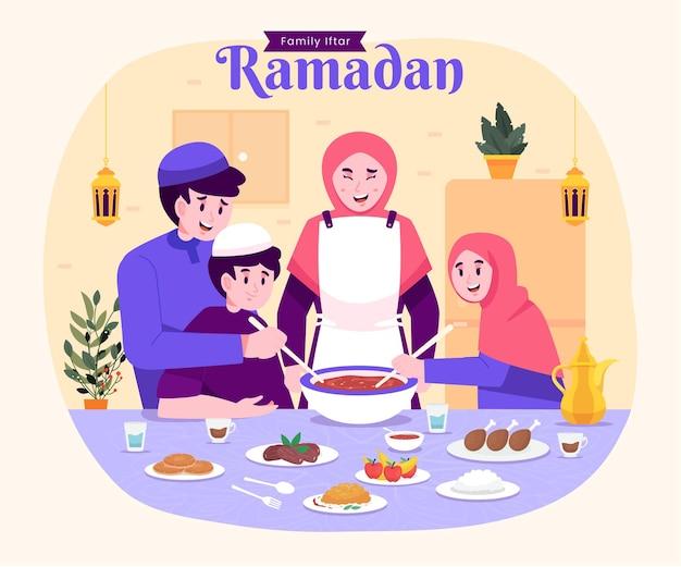 Moslimfamilie iftar die samen geniet van ramadan kareem mubarak