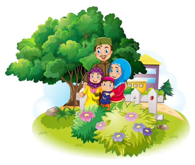 Moslimfamilie in de tuin