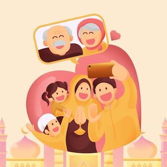 Moslimfamilie neemt contact op met hun ouderling of ouders in een videogesprek met een smartphone om hun liefde te tonen in de eid mubarak-viering