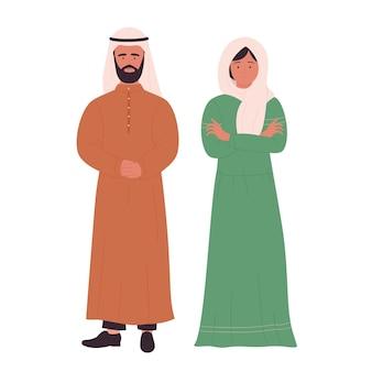 Moslimfamilie of paarmensen, arabische jonge echtgenoot en vrouw die zich verenigen