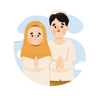Moslimfamilie vier eid al-fitr Premium Vector