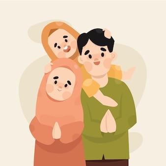 Moslimfamilie viert eid mubarak