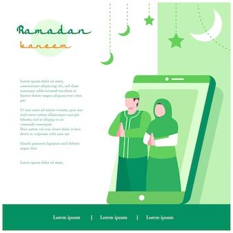 Moslimfamiliegroet via smartphone, platte ontwerpillustratie, voor ramadan en eid al fitr islamitische sjabloonbanner