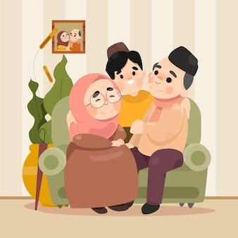 Moslimfamilies vieren de eid al-fitr-bijeenkomst met grootouders