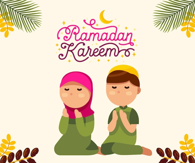 Moslimjongen en meisje met mooie ramadan kareemtekst Premium Vector