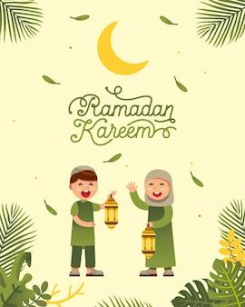 Moslimjongen en meisjes het vieren ramadan met mooi ramadan ontwerp van de kareemtekst