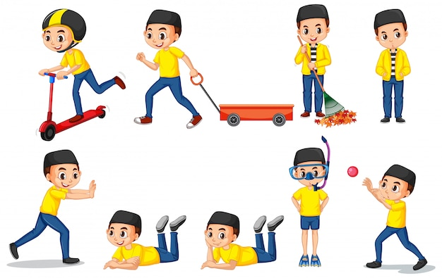 Moslimjongen in geel overhemd die verschillende dingen doen