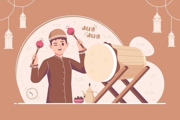 Moslimjongenskarakter dat bedug (islamitische trommel) raakt in de maand ramadan