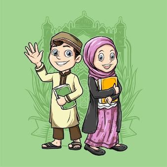 Moslimkinderen houden de koran vast