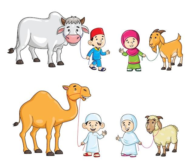 Moslimkinderen met cartoon kameel, koe, geit en schapen