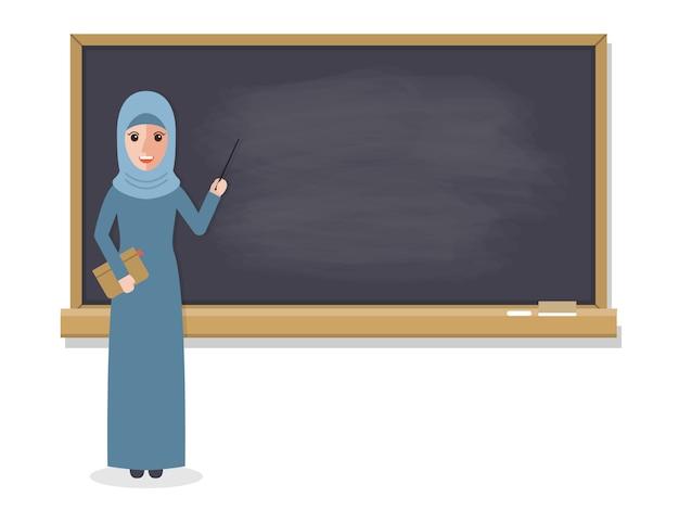 Moslimleraar die student in klaslokaal onderwijst.