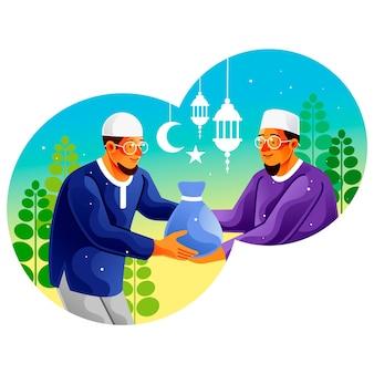 Moslimman die aalmoezen van zakat geeft in ramadan