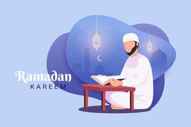 Moslimman die de koran leest