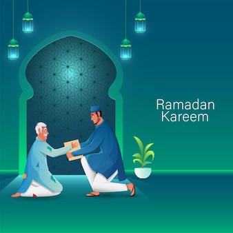 Moslimman die een schenking geeft aan een bedelaar bij moskee-uitzicht ter gelegenheid van ramadan kareem