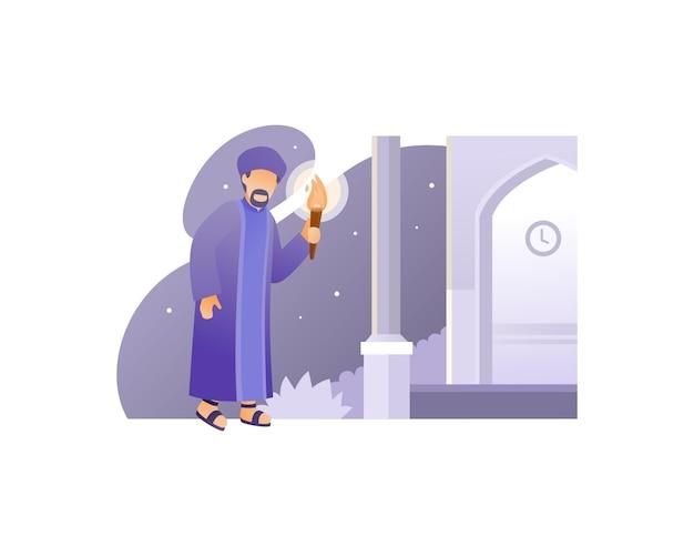 Moslimman die naar de moskee gaat terwijl hij een fakkel draagt