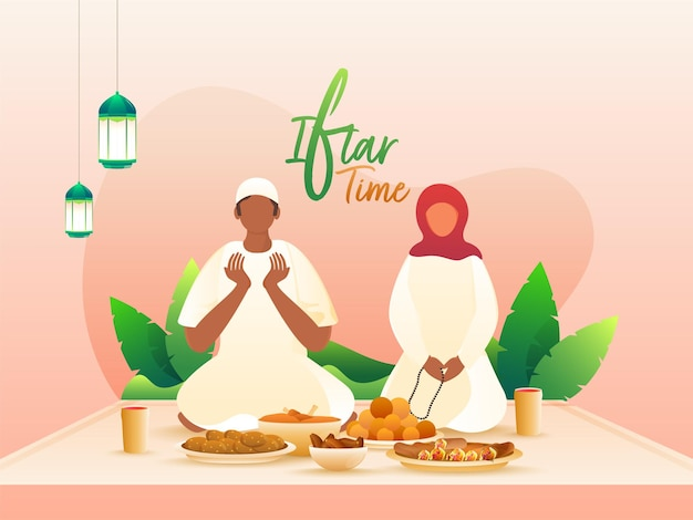 Moslimman en -vrouw die vóór het eten bidden ter gelegenheid van de iftar-partij.