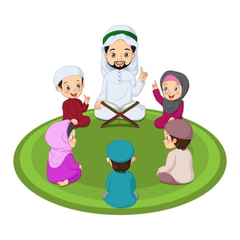 Moslimman en zijn studenten die heilige koran bestuderen