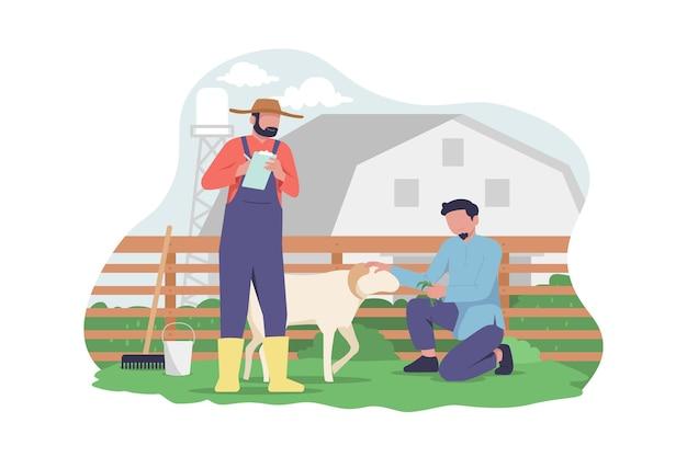 Moslimman is op de geitenboerderij om eid adha-illustratie te vieren