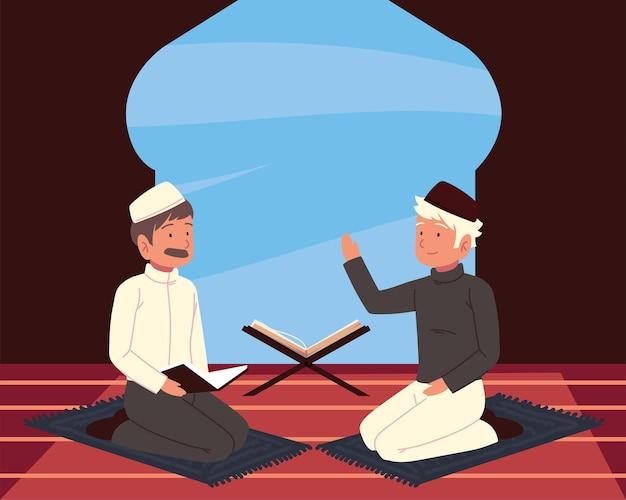 Moslimmannen die koran bestuderen in een moskee