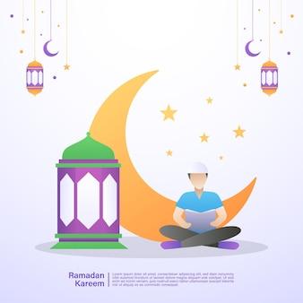 Moslimmannen lazen de koran in de maand ramadan. illustratie concept van ramadan kareem
