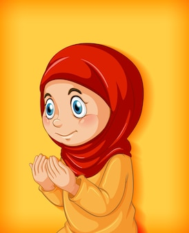 Moslimmeisje beoefent religie