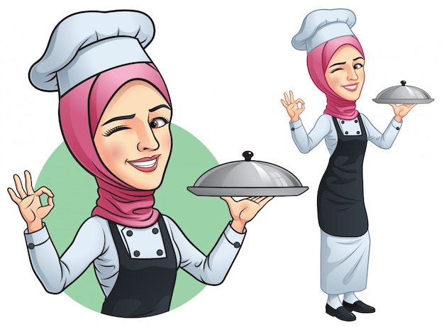 Moslimmeisje chef-kok met hjab