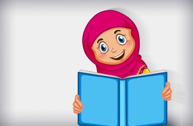 Moslimmeisje dat het boek leest