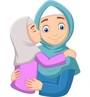 Moslimmeisje die de wang van haar moeder kussen