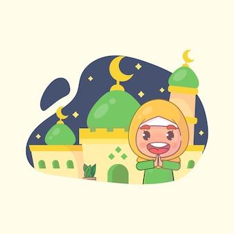 Moslimmeisje groet ramadan kareem islamitisch