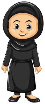 Moslimmeisje in zwarte uitrusting