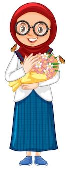 Moslimmeisje met mooie bloemen op wit