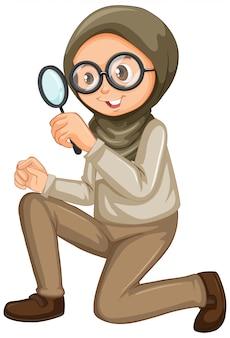 Moslimmeisje met vergrootglas op wit