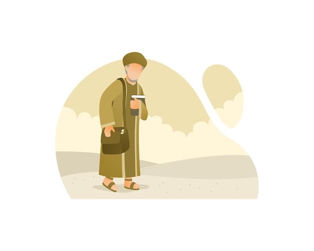 Moslimmens die op woestijn loopt