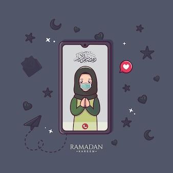 Moslimmensen communiceren online via een smartphone-videogesprek in ramadan kareem en eid mubarak