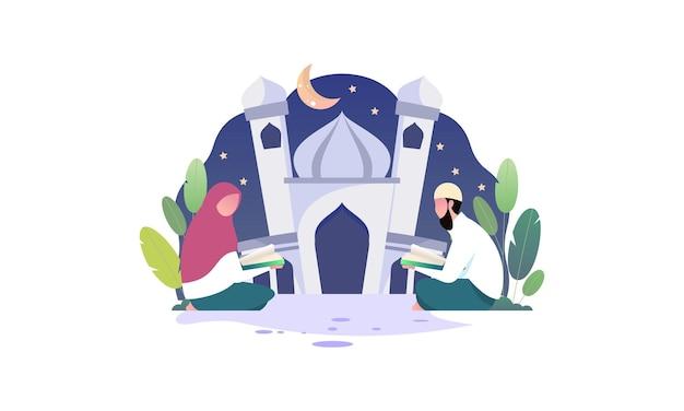 Moslimmensen die de koranillustratie lezen en leren