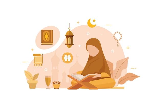 Moslimmensen die het islamitische heilige boek van de koran lezen en leren