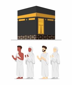 Moslimmensen die ihram hadj met kabah-bouwpictogram dragen dat in beeldverhaal vlakke die illustratie wordt op witte achtergrond wordt geïsoleerd geplaatst