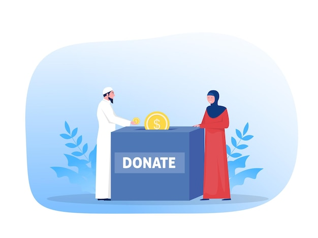 Moslimmensen doneren voor het betalen van zakat op de illustratie van het ramadan-concept