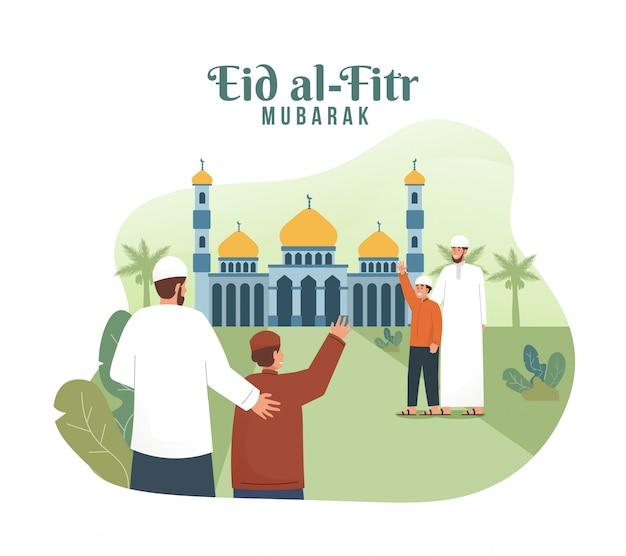 Moslimmensen gaan naar de moskee terwijl ze elkaar begroeten. eid mubarak platte cartoon karakter illustratie