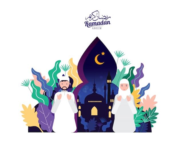 Moslimmensen in traditioneel uitrustingsgebed voor heilige maand ramadan kareem.